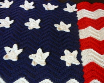 Crocheted Patriotic Ripple Blanket/Red/White/Blue/Acrylic     READY TO SHIP       Size 37 ins x 36 ins