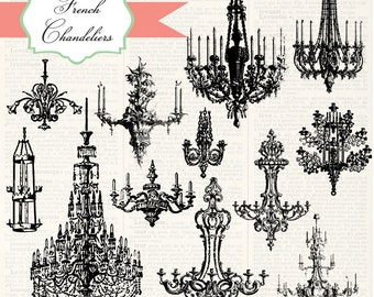 Vintage French Chandeliers, digital clip art and photoshop brushes: Commercial and Personal Use, No. 2