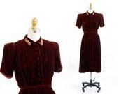 vintage 1930s dress / 30s dress / Cinnamon Brown Silk Velvet Beaded Dress