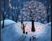 Take As Much As You Need a Valentines Love Hearts Winter Moon PRINT by Deborah Gregg
