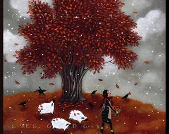 Leaf Collectors   a  Sheep, Fall  Leaves Crows Autumn Snow PRINT form the original by Deborah Gregg