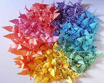 100 Small Origami Cranes Origami Paper Cranes Paper Crane - Made of 7.5cm 3 inches Japanese Washi Chiyogami Paper B