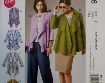 McCall's M6516 Misses Vest and Jacket Sewing Pattern New\Uncut Size XS-S-M