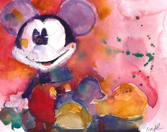 Mickey Mouse in Red - Disney Art PRINT from Original Watercolor