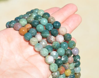 18 Moss Agate 10mm Faceted Round Beads BD789