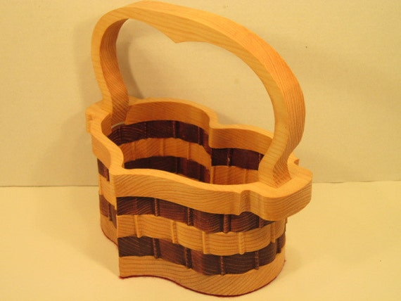 Handmade Heart Basket : Heart basket with handle handmade