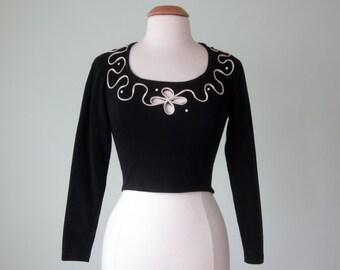90s top / black knit crop blouse shirt long sleeve peekaboo (s - m)