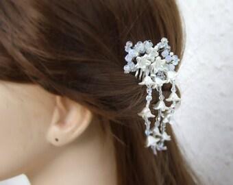 20% OFF,Bridal Flower Headpiece, Bridal Hair Accessories, Silver Headpiece, Silver Hair Jewelry, Wedding Hair Accessory