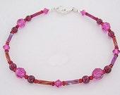 Very Berry Swarovski Crystal and Garnet Anklet or Bracelet - Fuscia Swarovski Crystal Ankle Bracelet,  Petite - Plus Size Anklet or Bracelet