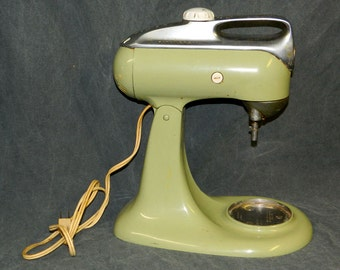 Vintage KitchenAid Stand Mixer Model 4-C Avocado Green WORKS, Cooking Baking Crabby Cats CrabbyCats