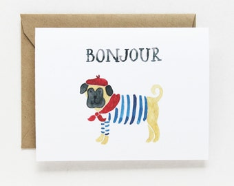 Any Occasion Card - Bonjour Dog Card