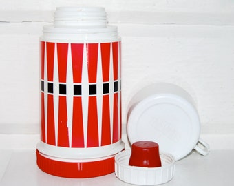 Vintage Thermos, King Seeley, Mid Century, Red, White, Black, Graphic