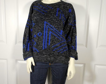 Geometric Gray and Blue Sweater