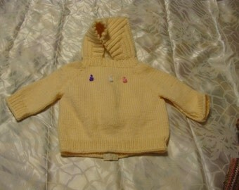 Hooded Baby Sweater with Zipper~~~ Yellow