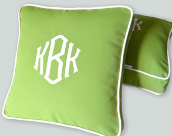 EMBROIDERY MONOGRAM PILLOW - New Style and Colors - Green Sunbrella - Any Color Embroidery and Trim - Any Size -Nursery- Baby Girl or Boy