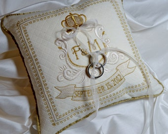 embroidered ring pillow anniversary monogram cream gold custom chanel fabric traditional bridal shower