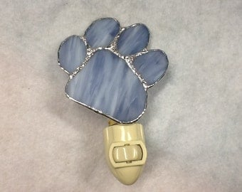 Paw Print Night Light Stained Glass
