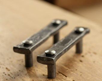 "Drawer Pulls - Pair of 3"" Lithops Tenon Pulls - Wrought Iron Cabinet pulls"