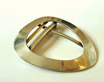 Vintage silver brooch. Sterling with gold colored accent. Mixed metal. Made in Mexico. Midcentury modern.