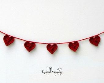 Red Heart Garland, Heart Banner, Valentine Bunting