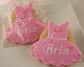 Ballet Dress Cookies, Dance Princess Party, Princess Cookies - 12 Decorated Sugar Cookie Favors