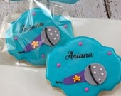 Microphone Music Cookies, Rock Star - 12 Decorated Sugar Cookie Favors