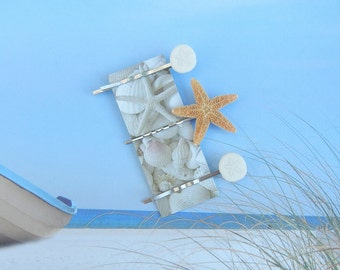 Sand Dollar Starfish Bobby Pins - Sweet and Petite  - Sugar Starfish and Baby Sand Dollar Bobby Pins