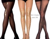 Sale! save 15% off on 3 pairs, Flash Back sheer tights/gold tattoo tights/ Opaque tights/full length/S-M, L-XL