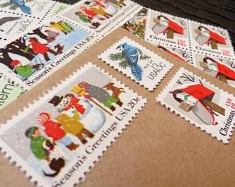 Christmas .. Woodland Wonders.. UNused Vintage Postage Stamps  .. post 5 letters