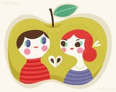 Apple of my Eye - limited edition giclee print of an original illustration (8 x 10 in)