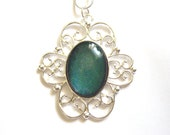 Aurora Color Shifting Oval Silver Filigree Necklace Nail Polish Jewelry - Limited Edition