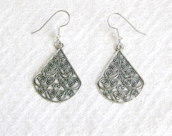 Antiqued Silver FiligreeTeardrop Pierced or Clip-On Earrings