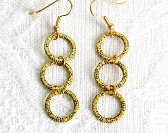 Antiqued Gold or Silver Three Ring Earrings, Pierced or Clip On