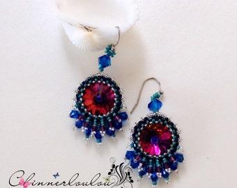 blue tone  swarovski crystal beadweaving earring