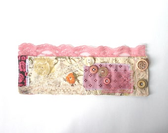 Rustic Bridal Cuff Bracelet - Pink Recycled Bracelet with Lace and Buttons - Large Wrist Cuff