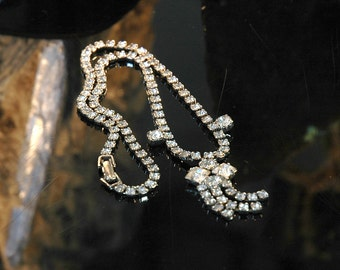 Rhinestone Necklace #5, Vintage Bride, Princess Style, Dangles, Silver Metal, Excellent Condition
