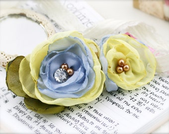 Pastel flower barrette hair clip - Chiffon, glass pearl and acrylic rhinestone