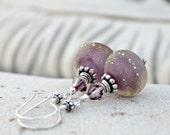 Plum Glow Lampwork and Sterling Silver Dangle Earrings - Mauve, Purple,