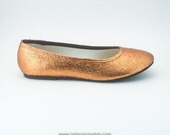 Copper Glitter Ballet Flat Slipper Custom Shoes