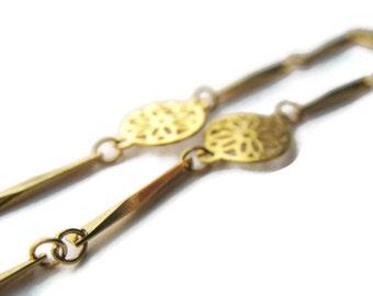 Ankle Bracelet Napier Delicate Goldtone Flower Disk Bar