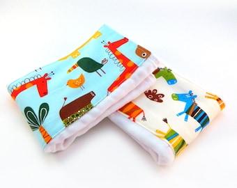 Jungle Animal Burp Cloths, Blue Green Orange Zebra  set of 2 Diaper Clothes