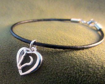 Hearts and Horses Charm on Leather Bracelet