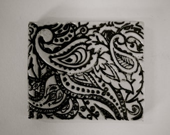 Decorative Tile/coaster/Hot Pad Black and White