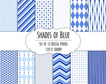 Shades of Blue Digital Scrapbook Paper 12x12 Pack - Set of 12 - Polka Dots, Chevron, Diamonds - Instant Download - Item# 8029