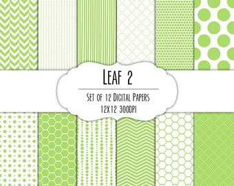 Leaf Green 2 Digital Scrapbook Paper 12x12 Pack - Set of 12 - Polka Dots, Chevron, Hexagon - Instant Download - Item# 8121