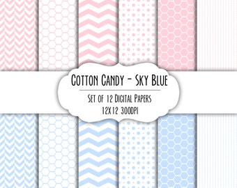 Cotton Candy Pink & Sky Blue Digital Scrapbook Paper 12x12 - Set of 12 - Dot, Chevron, Hexagon - Instant Download - Item# 8185