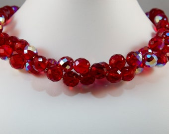 Red Fire Polished Czech Glass Necklace