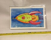 ORIGINAL watercolor painting of a rocket
