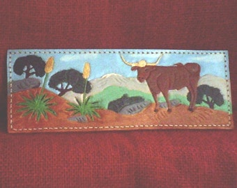 """Handmade Leather Cowgirl Wallet """" Texas Longhorn on the OPEN RANGE"""""""
