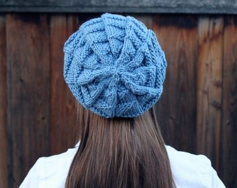 Textured Sky Blue Slouchy Beanie // Winter Accessories // Knit Hat // Slouch Beanie// Slouchy Hat// Gift